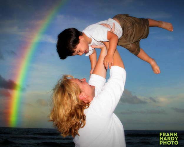 Mother and Son in Air with Rainbow _20 Dec 13  SFW